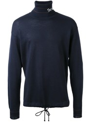 Selfmade By Gianfranco Villegas Embroidered Roll Neck Jumper Blue