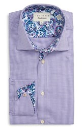 Ted Baker Men's Big And Tall London 'Swinsin' Trim Fit Check Dress Shirt Purple