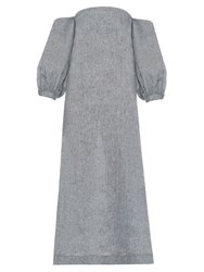 Lisa Marie Fernandez Rosie Off The Shoulder Linen Dress Light Grey