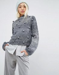 Oneon Hand Woven Jumper With Pom Pom Detail Grey