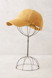 Anthropologie Washed Canvas Baseball Cap Gold