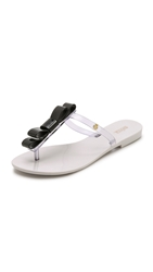 Melissa T Bar Bow Thong Sandals White Black