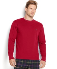 Polo Ralph Lauren Men's Tipped Thermal Crew Neck Shirt Red