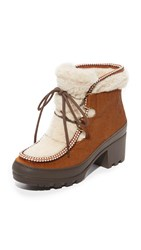 Tory Burch Berkley Shearling Booties Derby Brown Natural