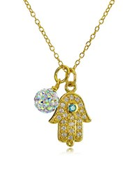Lord And Taylor Hamsa Charm Fireball Pendant Necklace Gold