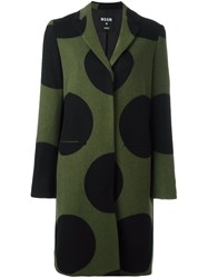 Msgm Polka Dot Coat Green