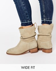 Asos Anika Wide Fit Suede Pull On Ankle Boots Sand Beige