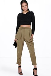 Boohoo Turn Up Tie Waist Cargo Trousers Khaki