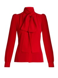 Sonia Rykiel Tie Neck Silk Blouse Red