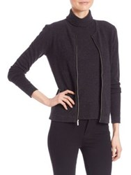 Saks Fifth Avenue Cashmere Zip Front Cardigan Navy Black Charcoal