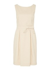 Hallhuber Polka Dot Strap Dress With Bow Feature Beige
