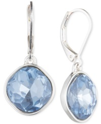 Nine West Silver Tone Blue Glass Stone Teardrop Earrings