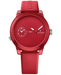 Tommy Hilfiger Men's Cool Sport Red Silicone Strap Watch 42Mm 1791323