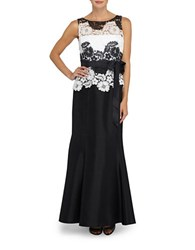Tahari By Arthur S. Levine Lace Bodice Gown Black Ivory