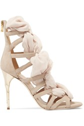 Balmain Woven Chiffon And Suede Sandals Beige