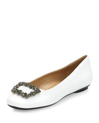 Neiman Marcus Shannon Crystal Buckle Leather Flat White Fume