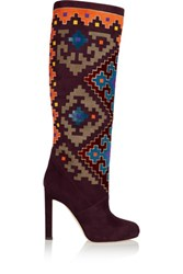 Brian Atwood Vicky Suede And Velvet Knee Boots Burgundy