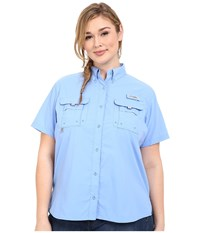 Columbia Plus Size Bahama S S Shirt White Cap Women's Short Sleeve Button Up Blue