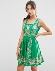 Asos Premium Embroidered Prom Dress Green