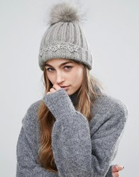 Miss Selfridge Embellished Faux Fur Pom Beanie Hat Grey