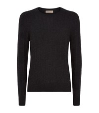 Burberry Cable Knit Cashmere Jumper Male Charcoal