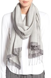 Eileen Fisher Women's 'Pathways' Hand Loomed Wool And Silk Scarf Pewter