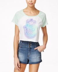 Hybrid Junior's Cropped Graphic T Shirt White Mint