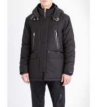 The Kooples Hooded Shell Parka Coat Kaki