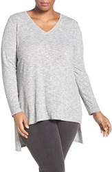 Vince Camuto Plus Size Women's Two By Rib Knit High Low V Neck Sweater