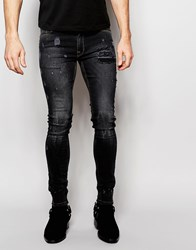 Asos Extreme Super Skinny Jeans With Exposed Pocket Bags And Abrasions Black