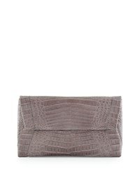 Nancy Gonzalez Small Soft Crocodile Envelope Clutch Bag White