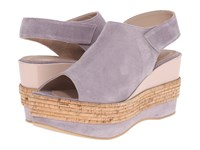 Furla Sofia Wedge 80Mm Lilas Magnolia Split Suede Vernice Soft Women's Wedge Shoes Purple