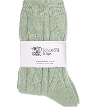 Johnstons Cable Knit Cashmere Socks Pavillon
