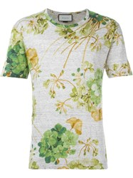 Gucci Floral Print T Shirt Nude And Neutrals