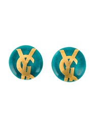 Yves Saint Laurent Vintage Logo Clip On Earrings Green