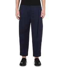 Haider Ackermann Pinstriped Dropped Crotch Cotton Blend Trousers Black