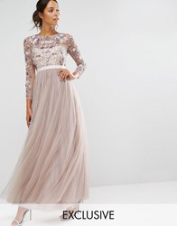 Needle And Thread Tulle Floral Gown Dust Lilac Grey