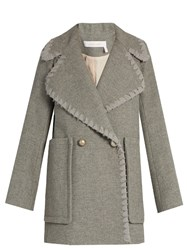 See By Chloe Double Breasted Wool Blend Coat Grey