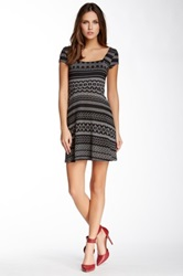 Socialite Juniors Square Neck Sweater Skater Dress Gray