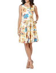 Rafaella Floral Fit And Flare Dress White