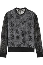 Reed Krakoff Floral Embroidered Organza Top Black