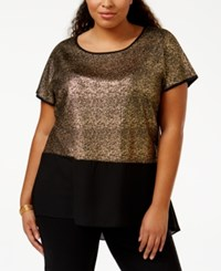 Ing Plus Size Short Sleeve High Low Blouse Black