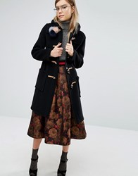 Gloverall Slim Fit Duffle Coat In Long Line With Tartan Lining Black