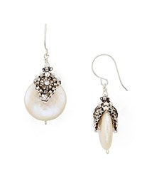 Miguel Ases Cultured Freshwater Pearl Drop Earrings White Silver