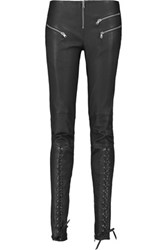 Balmain Pierre Lace Up Leather Skinny Pants Black