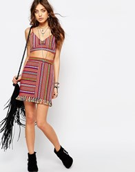 Young Bohemians Festival Skirt With Tassel Hem In Vertical Aztec Weave Multi