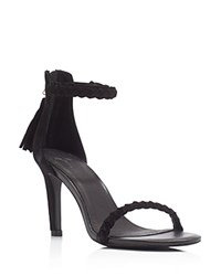 Joie Nia Braided Ankle Strap High Heel Sandals Black