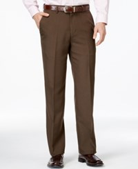 Haggar Classic Fit Eclo Chocolate Tonal Tic Weave Dress Pants