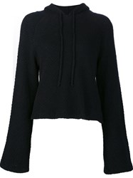 The Elder Statesman Woven Cropped Hoodie Blue