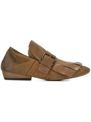 Marsell Buckled Fringe Detail Loafers Brown